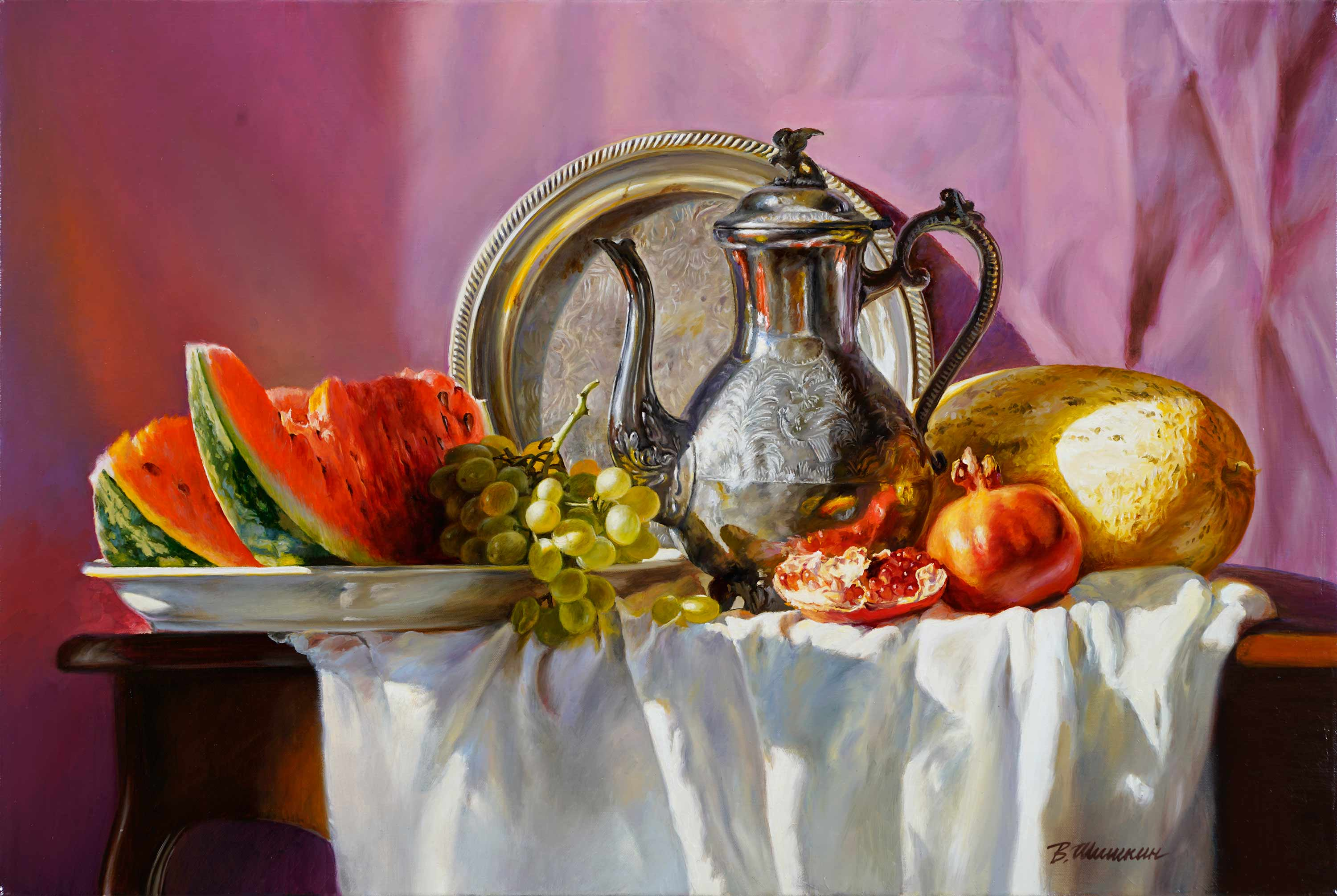 Still life with watermelon, Valery Shishkin, Buy the painting Oil