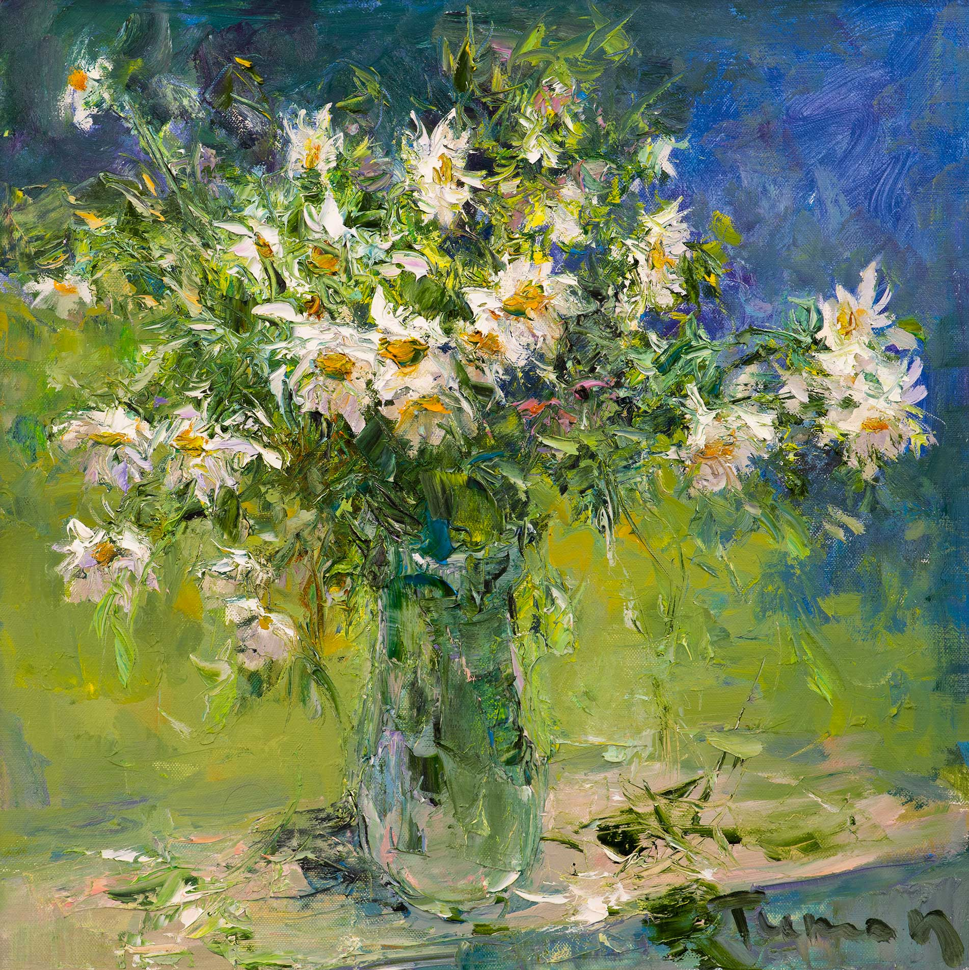 Chamomile in January, Tuman Zhumabaev, Buy the painting Oil