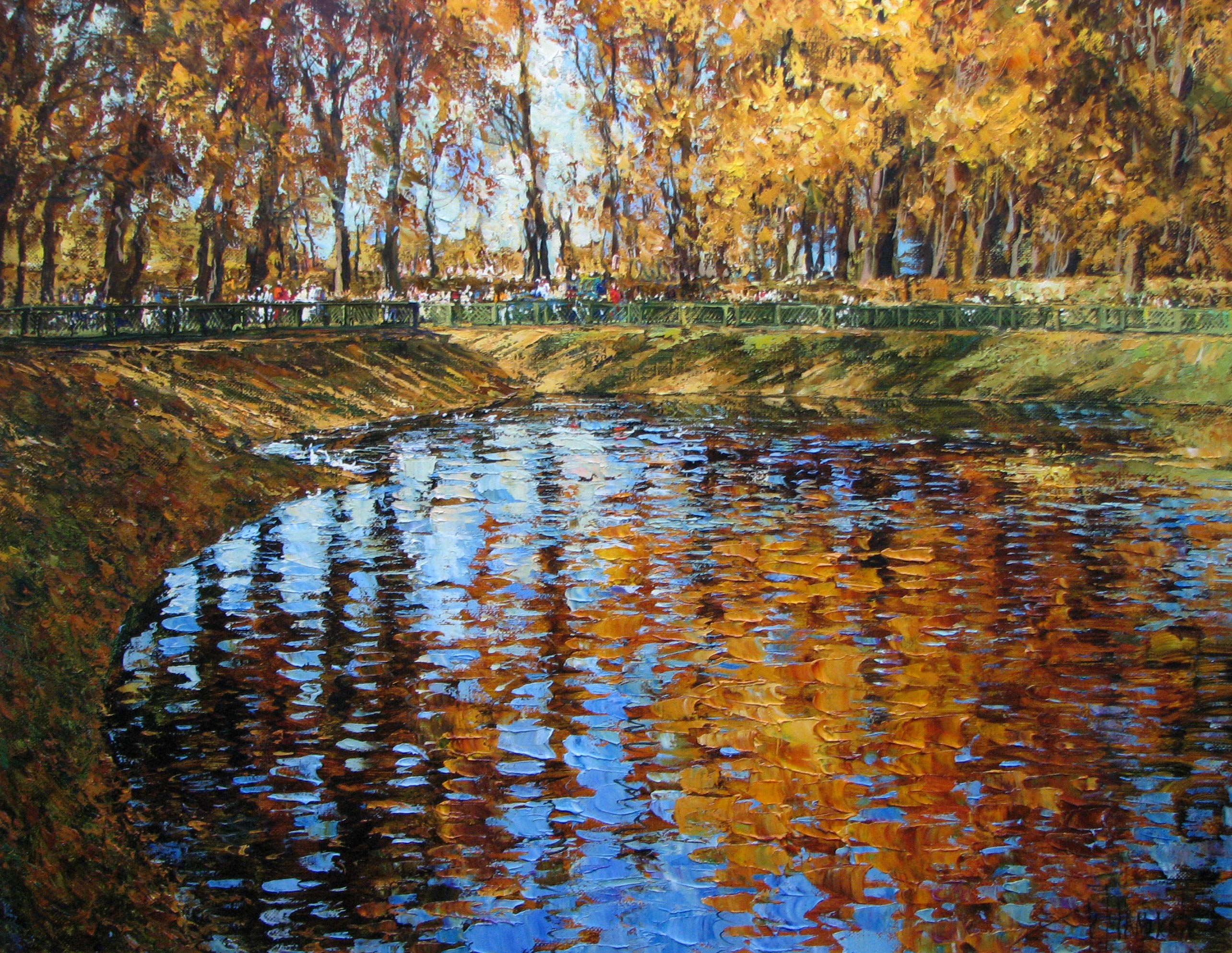 Pond in the Summer garden, Kirill Malkov, Buy the painting Oil
