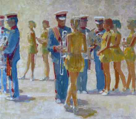 Majorettes and military musicians