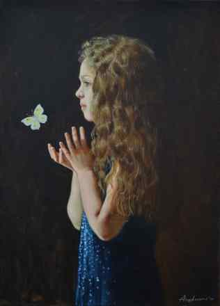 Girl white butterfly