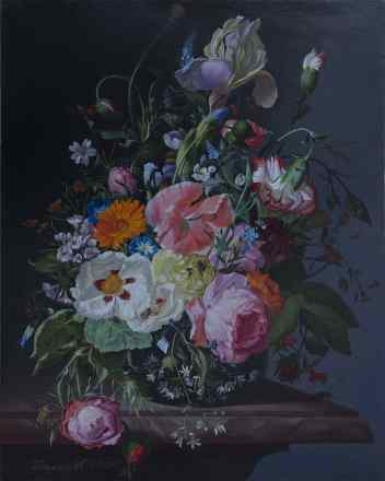 Rachel Ruysh. Still Life With Flowers On A Marble Tabletop