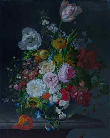 Rachel Ruysch. Still Life With Flowers In A Glass Vase