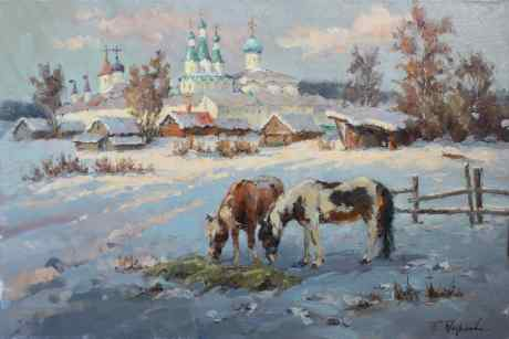 Winter morning at Alexander-Svirsky Monastery